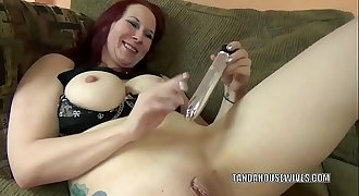 Big-titted Mummy Lia Shayde fucks her twat with a silver fake penis