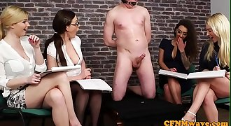 CFNM babes taunting a restrained slave