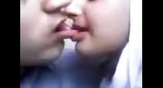 Pakistani college couple lip locks french kiss..