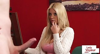Artistic voyeur instructing tugging sub