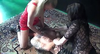 Sub suffocated by two mistresses with handsmother and facesitting action