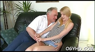 Hot youthfull honey screwed by old guy