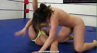 Two mature lesbians wrestling and making pussy humid