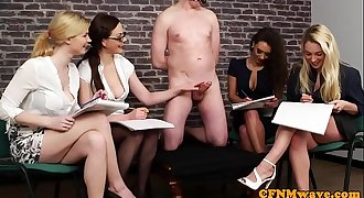 Cockhungry CFNM babes creamed by ball-gagged stud